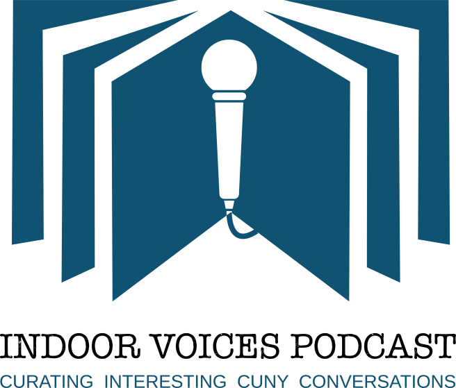 Open book with the text, Indoor Voices Podcast: curating interesting CUNY conversations